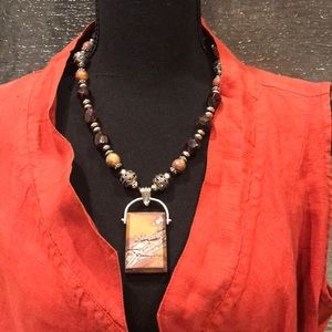 One-of-a-kind Garnet & Picture Jasper Necklace